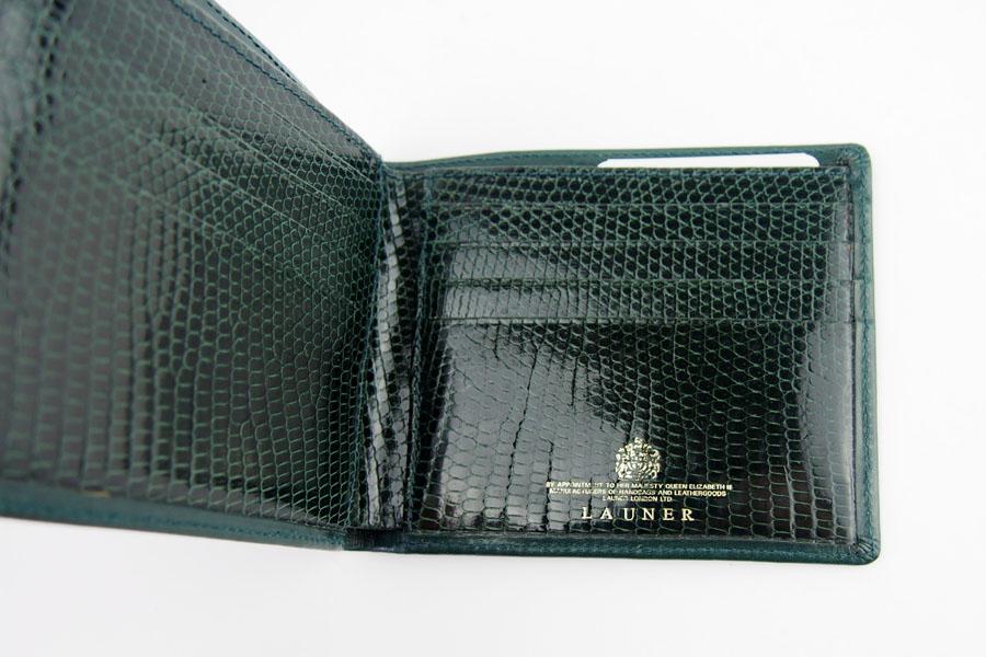 <ロウナーロンドン>折財布グリーンカーフ×リザードイメージ07