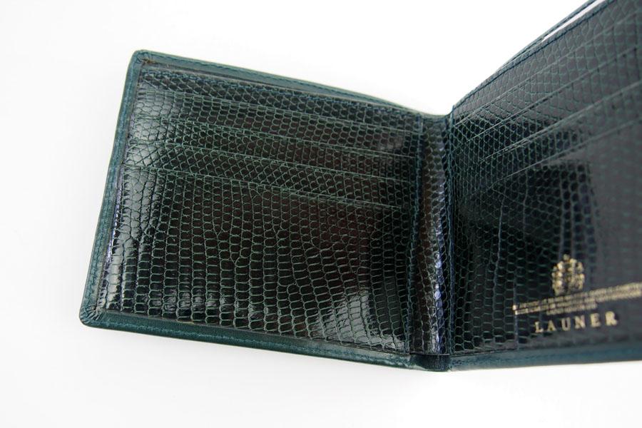 <ロウナーロンドン>折財布グリーンカーフ×リザードイメージ08