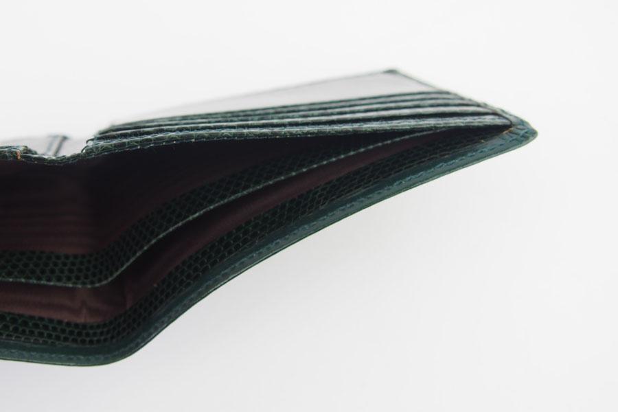 <ロウナーロンドン>折財布グリーンカーフ×リザードイメージ09