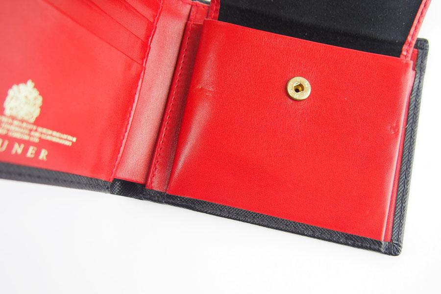 <ロウナーロンドン>折財布ブラック×スカーレットイメージ010
