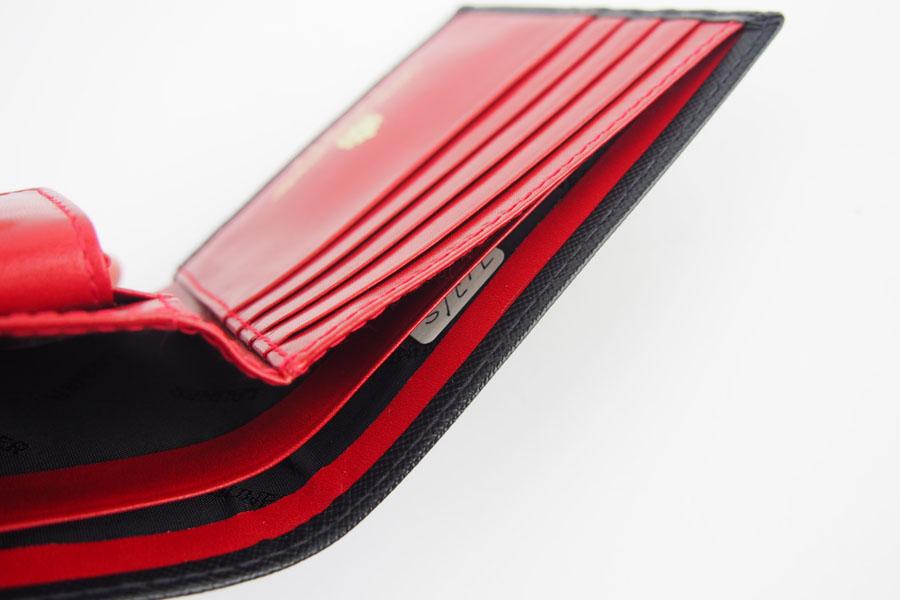 <ロウナーロンドン>折財布ブラック×スカーレットイメージ011