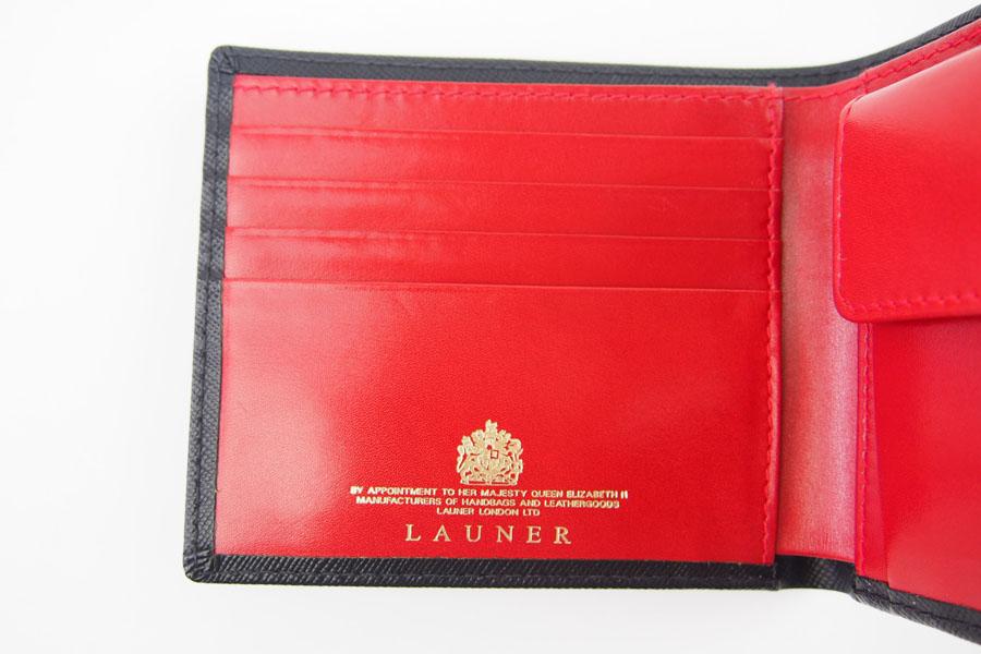 <ロウナーロンドン>折財布ブラック×スカーレットイメージ012