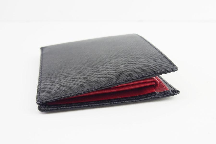 <ロウナーロンドン>折財布ブラック×スカーレットイメージ03
