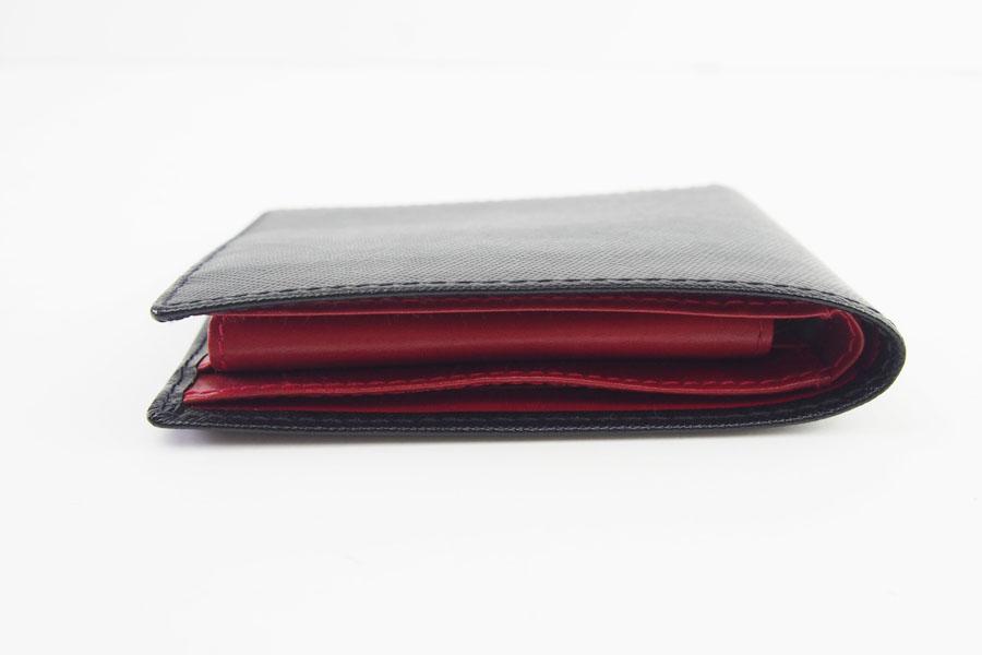 <ロウナーロンドン>折財布ブラック×スカーレットイメージ04