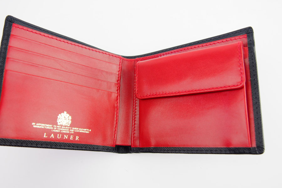 <ロウナーロンドン>折財布ブラック×スカーレットイメージ07