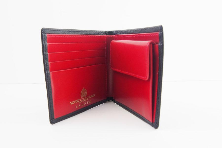 <ロウナーロンドン>折財布ブラック×スカーレットイメージ08