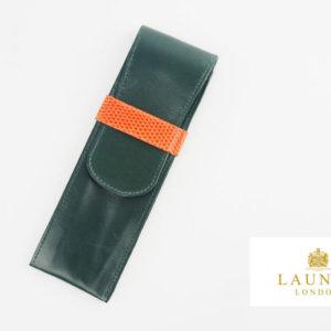 ロウナー ロンドン|LAUNER LONDON|ペンケース|920|グリーンカーフ×オレンジリザードイメージ01