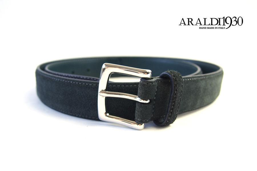 アラルディ ARALDI 1930 レザー&スエードコンビベルト グリーン×ネイビーイメージ01