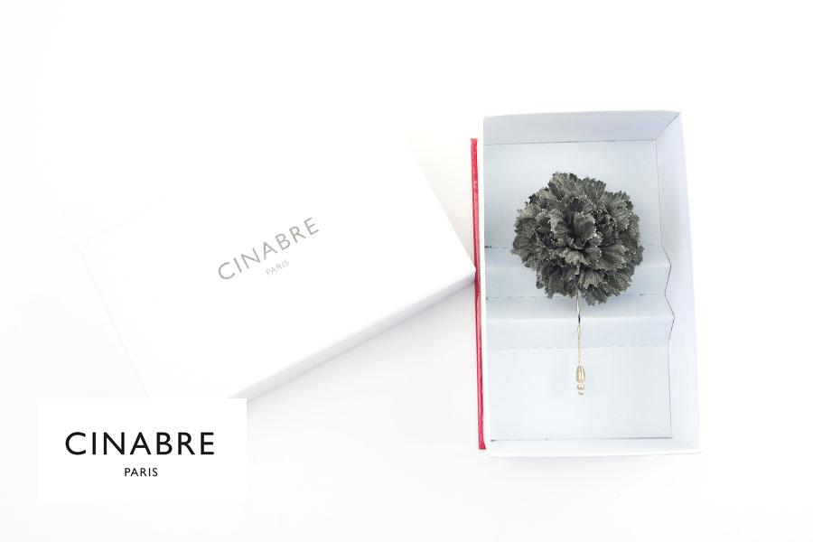 シナブル パリ CINABRE PARIS ブートニエール フラワーラペルピン ブローチ コサージュ グリーンイメージ01