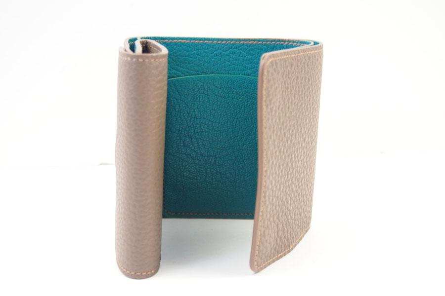 メゾンタクヤ|MAISON TAKUYA|小銭入れ付三つ折り財布|WX Wallet|ベージュ×ターコイズイメージ08