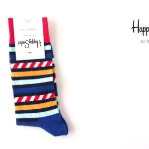 ハッピーソックス|happy socks|クルー丈カジュアルソックス|ボーダー柄|レッド×ブルー×イエロー イメージ01