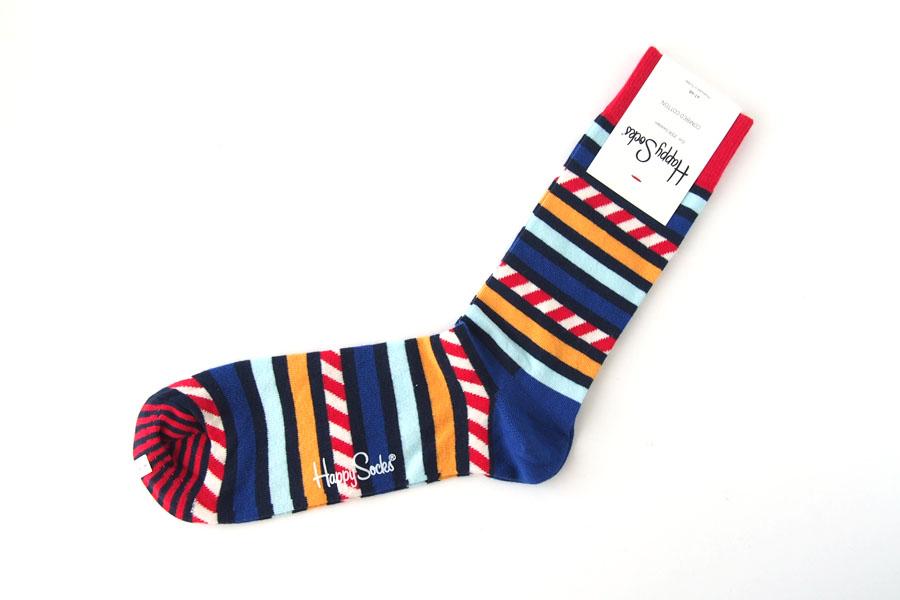 ハッピーソックス|happy socks|クルー丈カジュアルソックス|ボーダー柄|レッド×ブルー×イエロー イメージ02