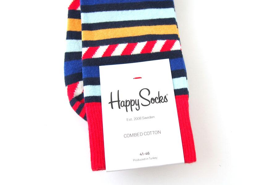 ハッピーソックス|happy socks|クルー丈カジュアルソックス|ボーダー柄|レッド×ブルー×イエロー イメージ04