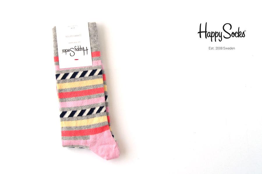 ハッピーソックス|happy socks|クルー丈カジュアルソックス|ボーダー柄イメージ01