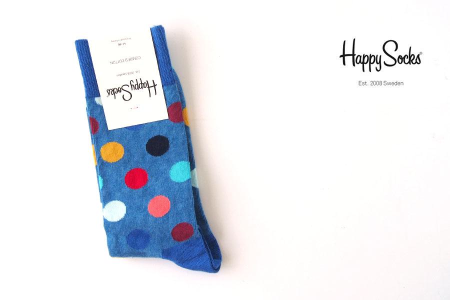 ハッピーソックス|happy socks|クルー丈カジュアルソックス|ビッグドット柄|BIG DOT SOCK|ブルー イメージ01