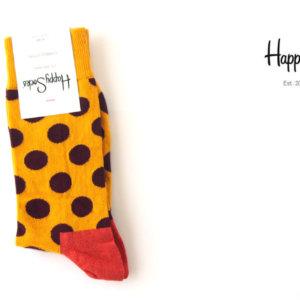 ハッピーソックス|happy socks|クルー丈カジュアルソックス|ビッグドット柄|BIG DOT SOCK|マスタード イメージ01