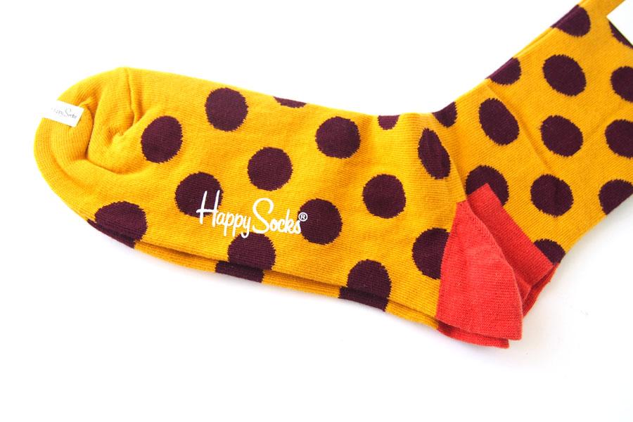 ハッピーソックス|happy socks|クルー丈カジュアルソックス|ビッグドット柄|BIG DOT SOCK|マスタード イメージ03
