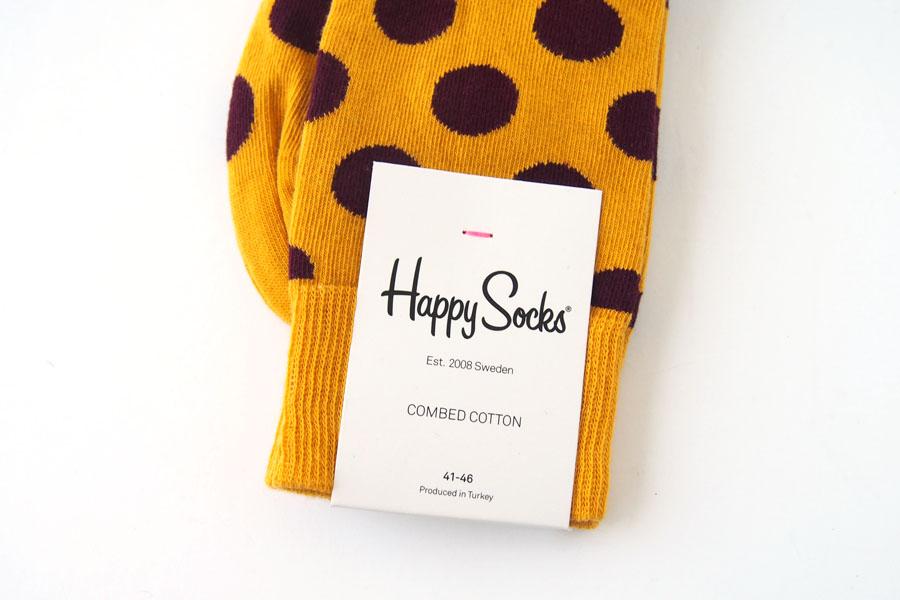 ハッピーソックス|happy socks|クルー丈カジュアルソックス|ビッグドット柄|BIG DOT SOCK|マスタード イメージ04