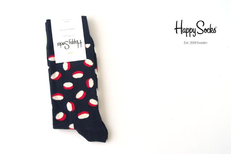 ハッピーソックス happy socks クルー丈カジュアルソックス 60-5107 ネイビー×ホワイト×レッド イメージ01