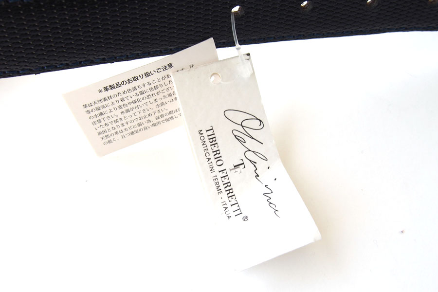 ティベリオ・フェレッティ|TIBERIO FERRETTI|リザード型押し レザーベルト|1677|90|ネイビーイメージ07