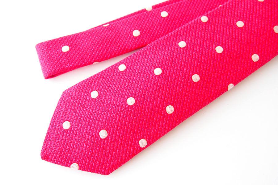 キートン|KITON|シルク×リネン素材ネクタイ|ドット柄|レッドイメージ02