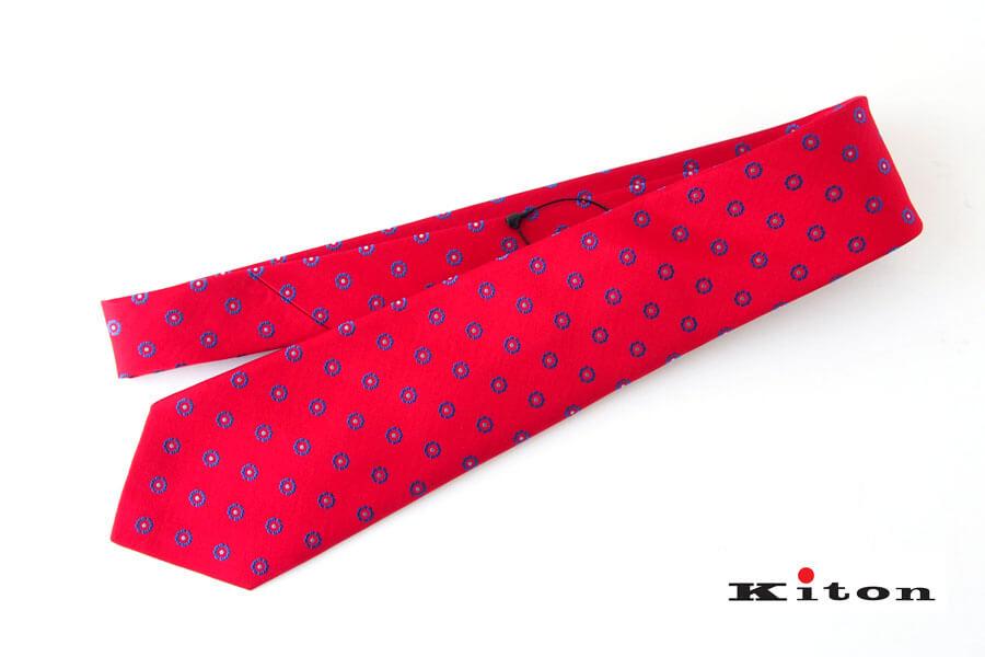 キートン|KITON|シルクネクタイ|小紋柄|レッドイメージ01