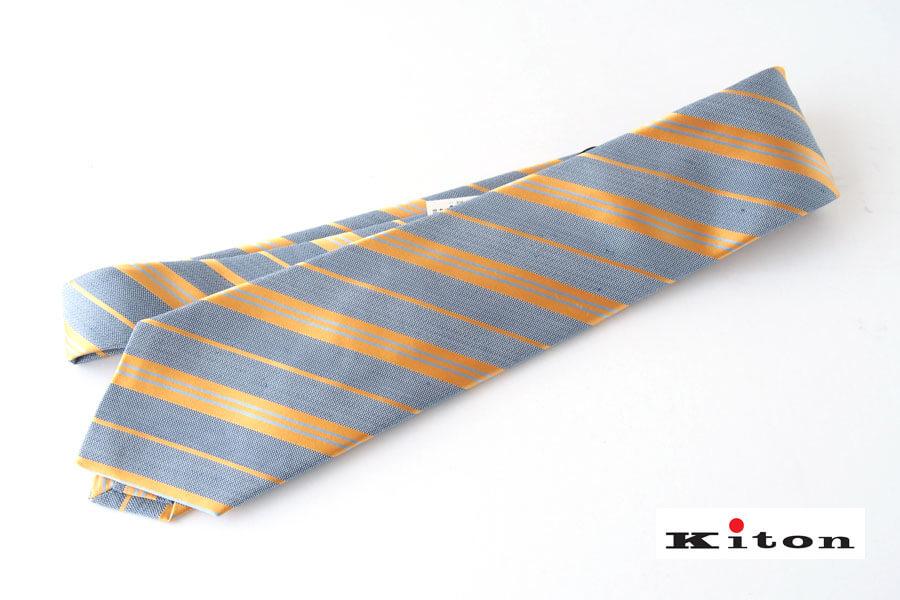 キートン|KITON|シルク×リネン素材ネクタイ|レジメンタルイメージ01