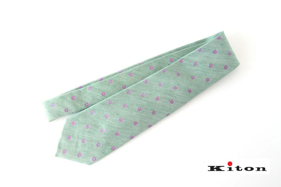 キートン|KITON|シルク×リネン素材ネクタイ|小紋|グリーンイメージ01