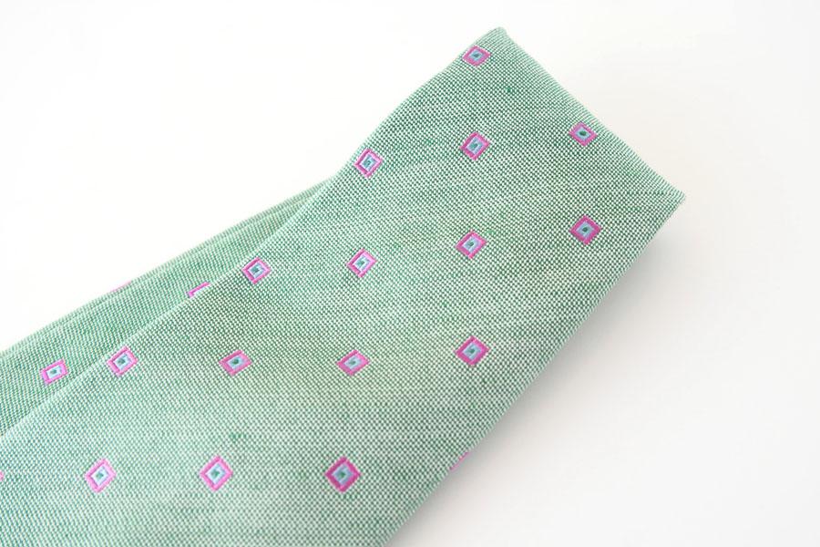 キートン|KITON|シルク×リネン素材ネクタイ|小紋|グリーンイメージ02
