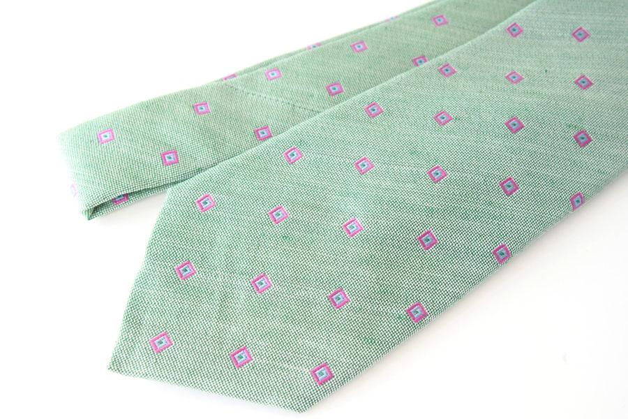 キートン|KITON|シルク×リネン素材ネクタイ|小紋|グリーンイメージ0