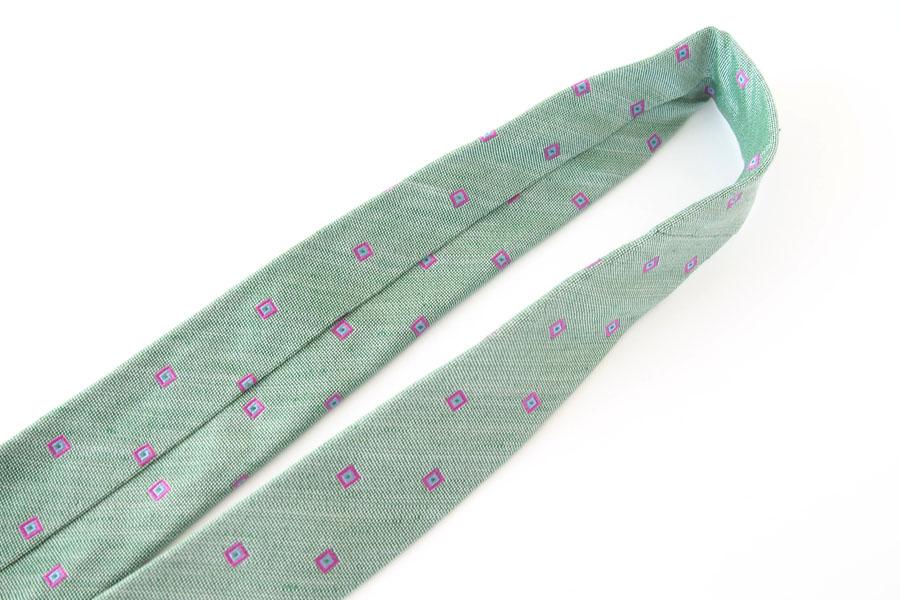 キートン|KITON|シルク×リネン素材ネクタイ|小紋|グリーンイメージ04