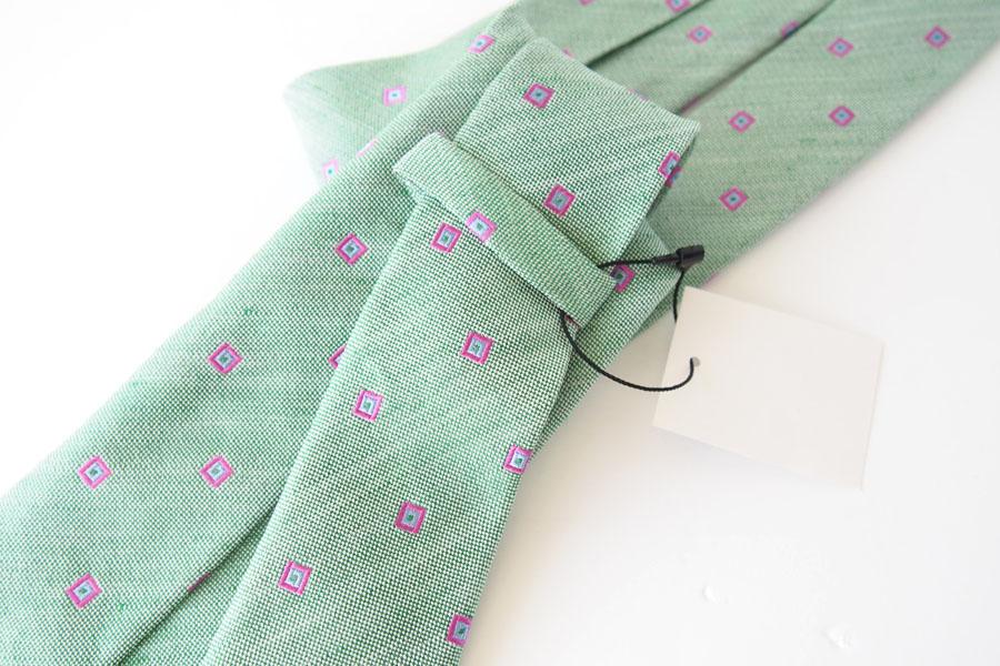 キートン|KITON|シルク×リネン素材ネクタイ|小紋|グリーンイメージ05