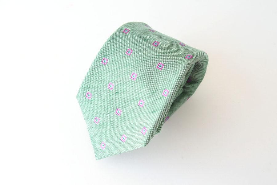 キートン|KITON|シルク×リネン素材ネクタイ|小紋|グリーンイメージ07