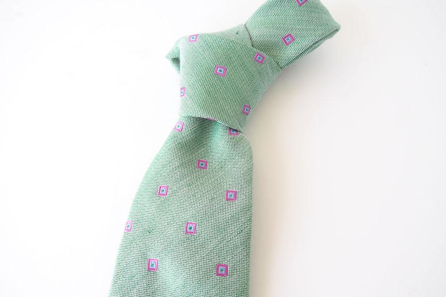 キートン|KITON|シルク×リネン素材ネクタイ|小紋|グリーンイメージ08