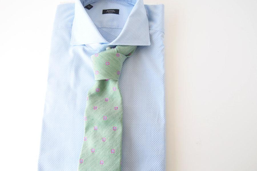 キートン|KITON|シルク×リネン素材ネクタイ|小紋|グリーンイメージ09
