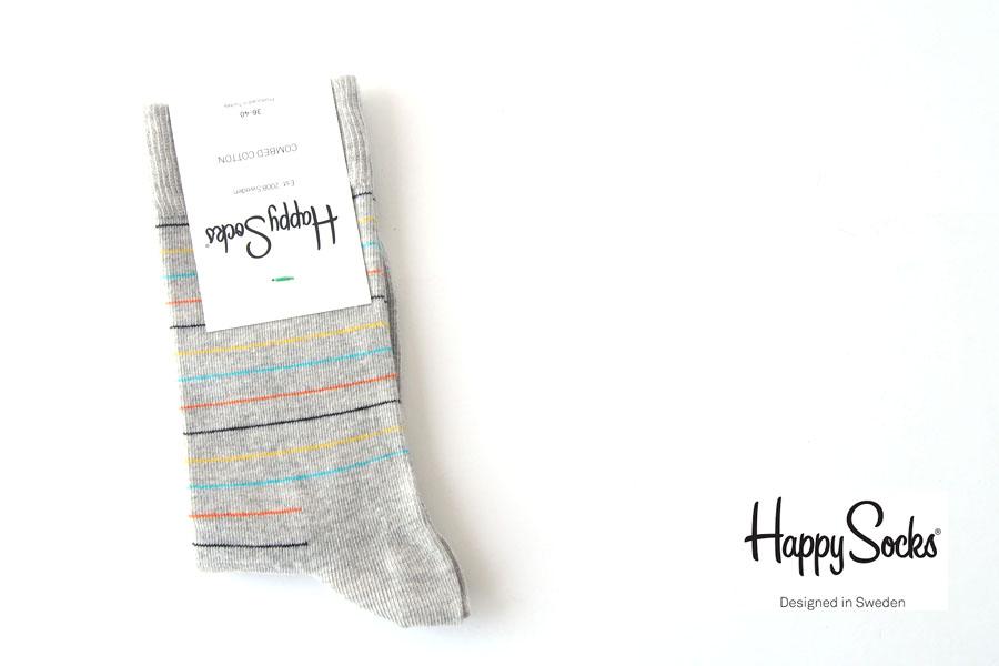 <ハッピーソックス>カジュアルソックス|60-5030|Thin Stripe Sock|ボーダー柄イメージ01