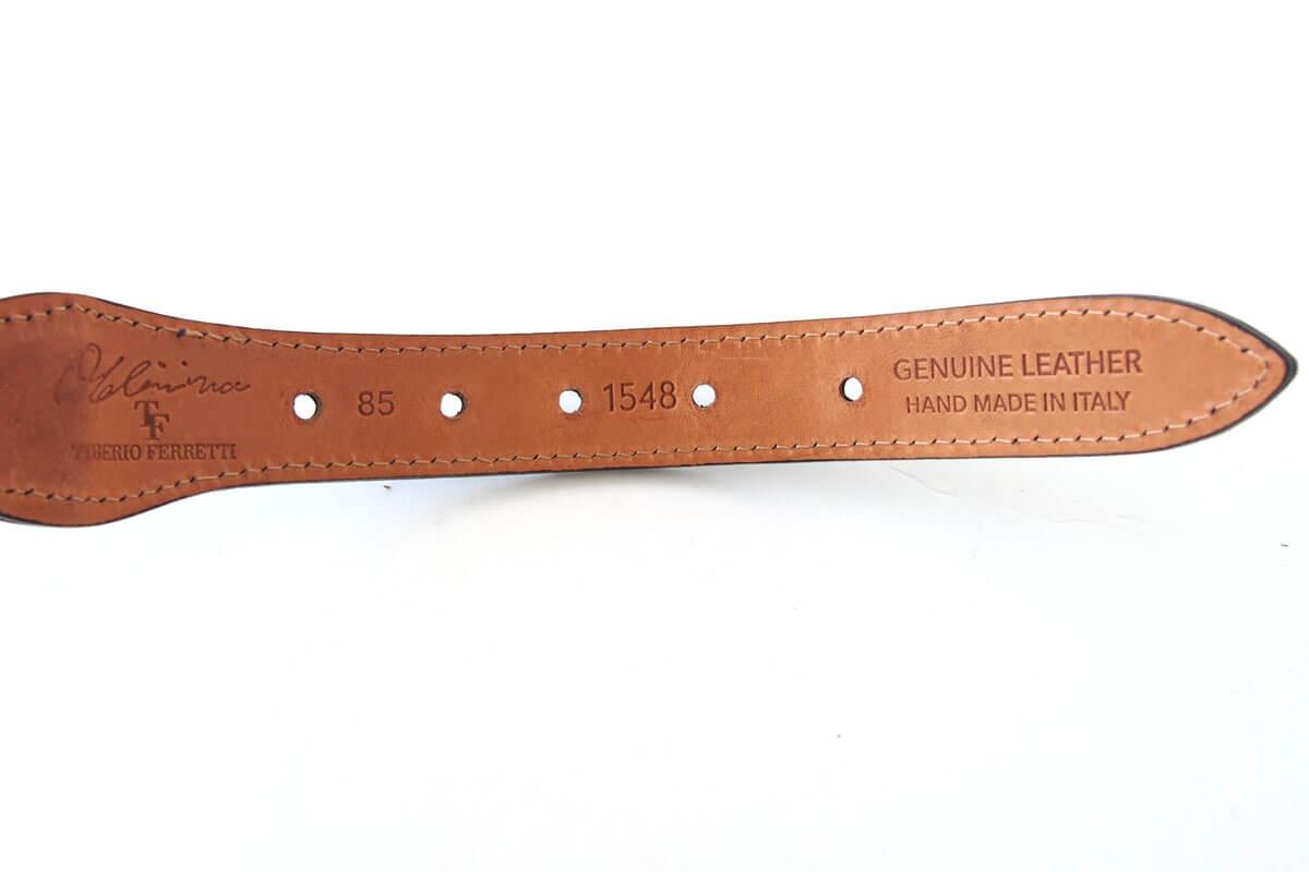 ティベリオ・フェレッティ|TIBERIO FERRETTI|チャッパメタリックドット型押しレザーメッシュベルト|1548|85|ブラウン×ブラック イメージ04