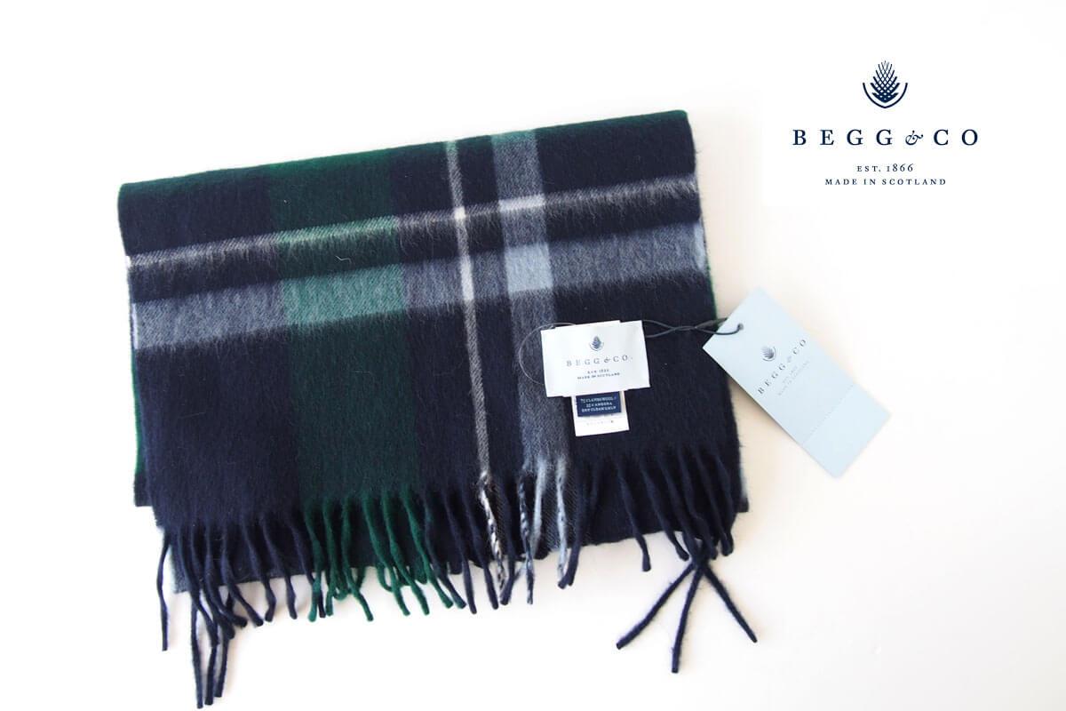 ベグ アンド コー|BEGG & CO|ウールアンゴラチェックマフラー|ネイビー×グリーン×ホワイト イメージ01
