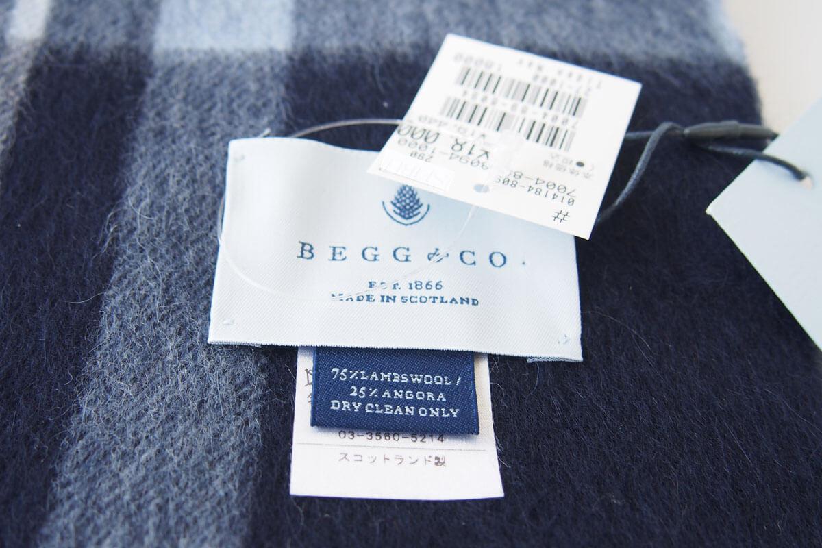 ベグ アンド コー|BEGG & CO|ウールアンゴラチェックマフラー|ネイビー×グリーン×ホワイト イメージ09