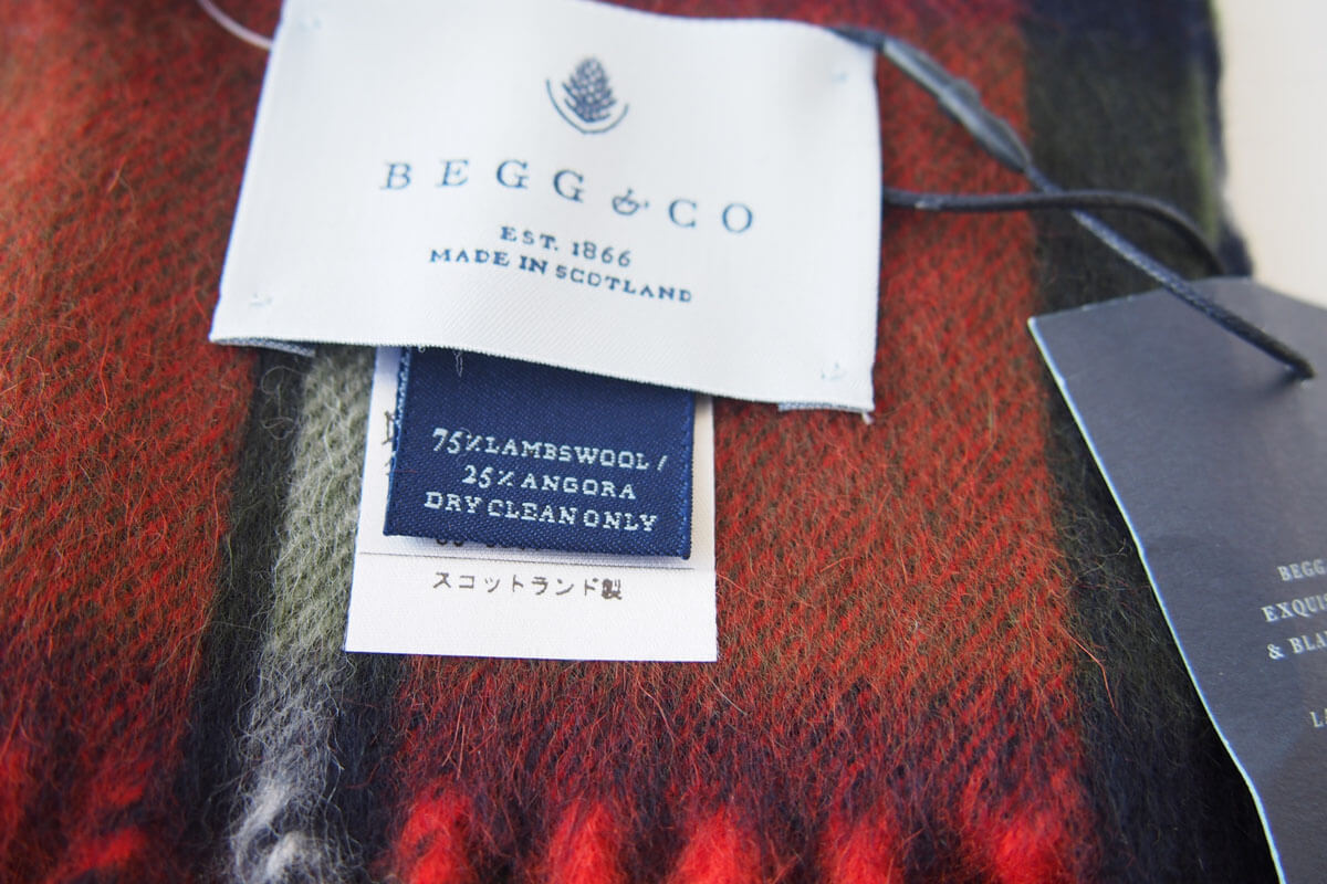 ベグ アンド コー|BEGG & CO|ウールアンゴラチェックマフラー|グリーン×オレンジイメージ07