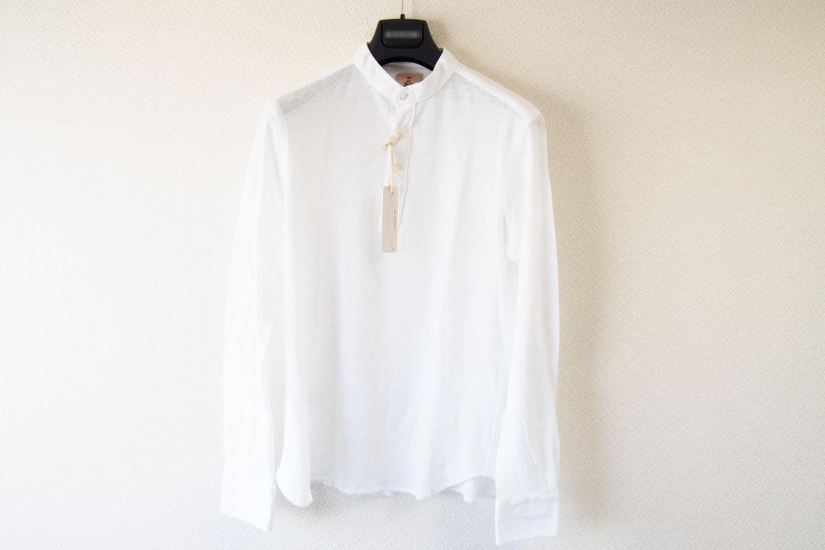 ギローバー GUY ROVER スタンドカラーリネンコットンシャツ 46 ホワイト イメージ04