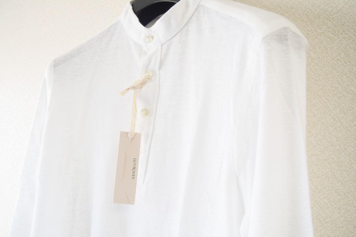 ギローバー GUY ROVER スタンドカラーリネンコットンシャツ 46 ホワイト イメージ05
