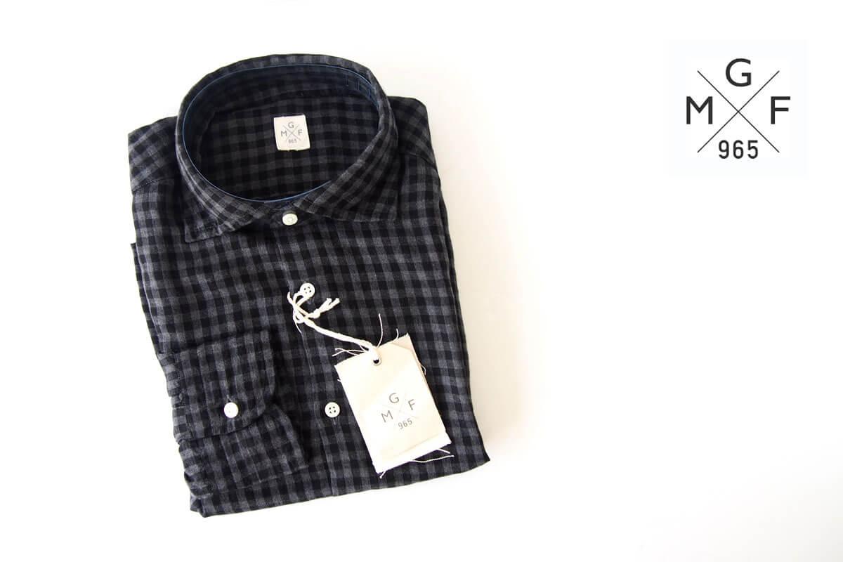 MGF965|チェック柄コットンシャツ|M|ブラック×グレイ イメージ01