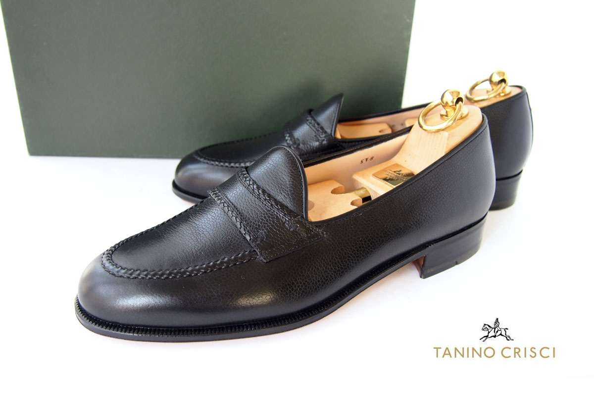 タニノクリスチ|TANINO CRISTI|編み込みデザイン レザーローファー|6.5|ブラックイメージ01