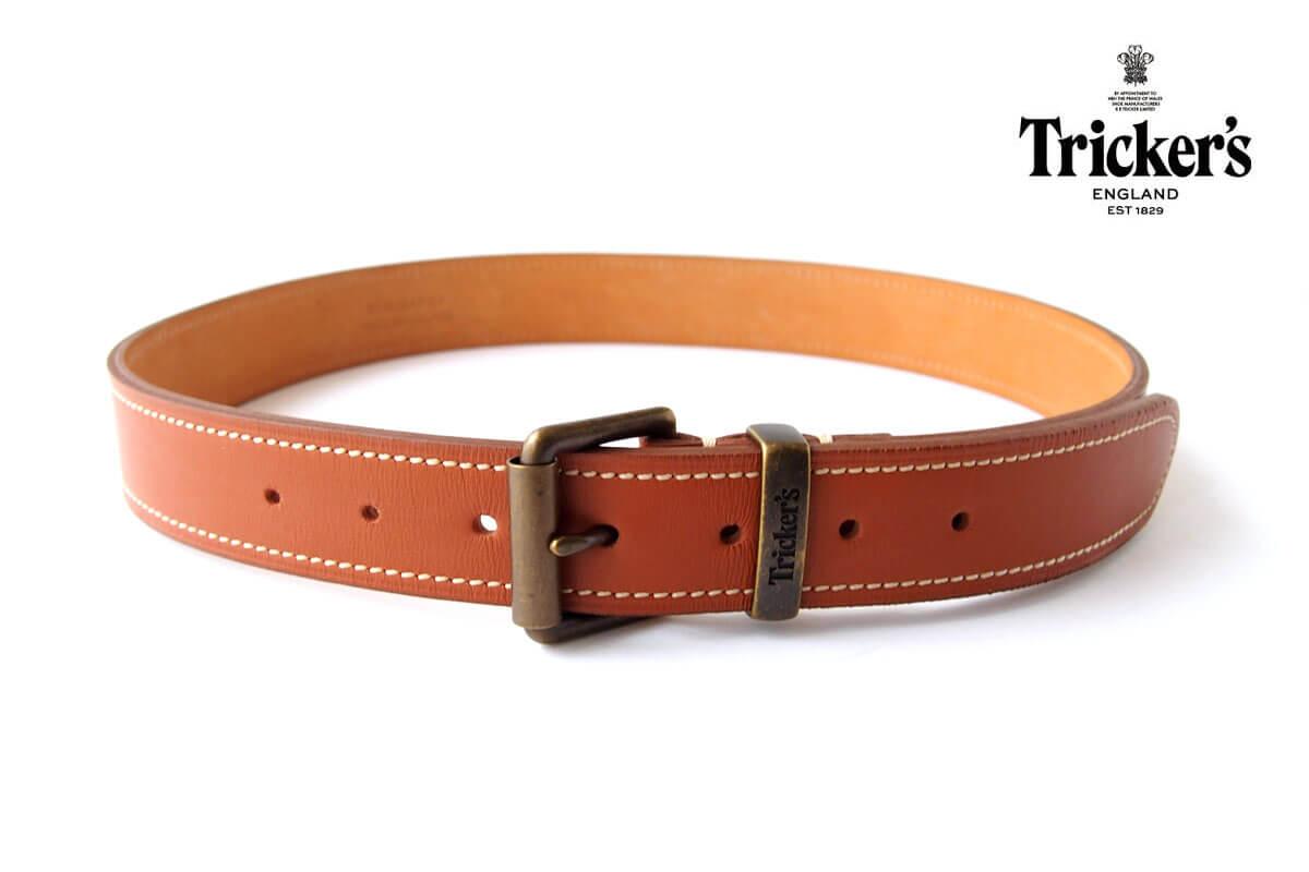 トリッカーズ|Tricker's|レザーベルト|ステッチ入り|Mイメージ01