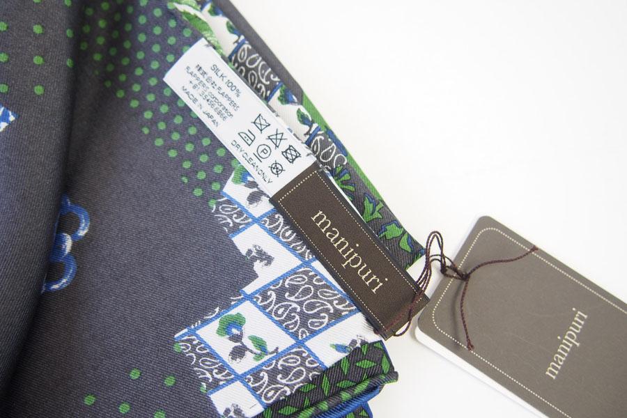 マニプリ|manipuri|プリントシルクスカーフ|ブラック×グリーンイメージ02