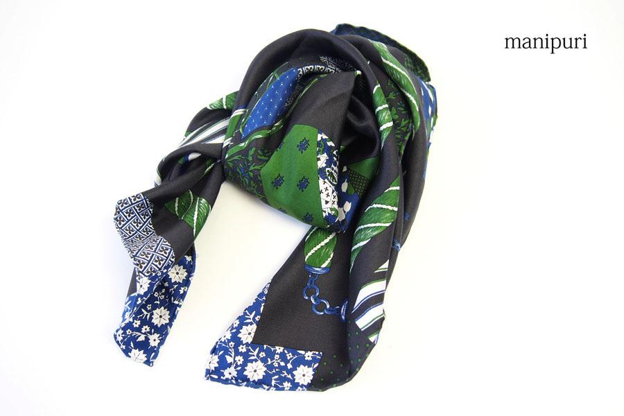 マニプリ|manipuri|プリントシルクスカーフ|ブラック×グリーンイメージ06