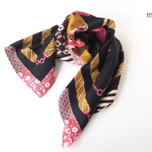 マニプリ|manipuri|プリントシルクスカーフ|ブラック×ピンクイメージ01
