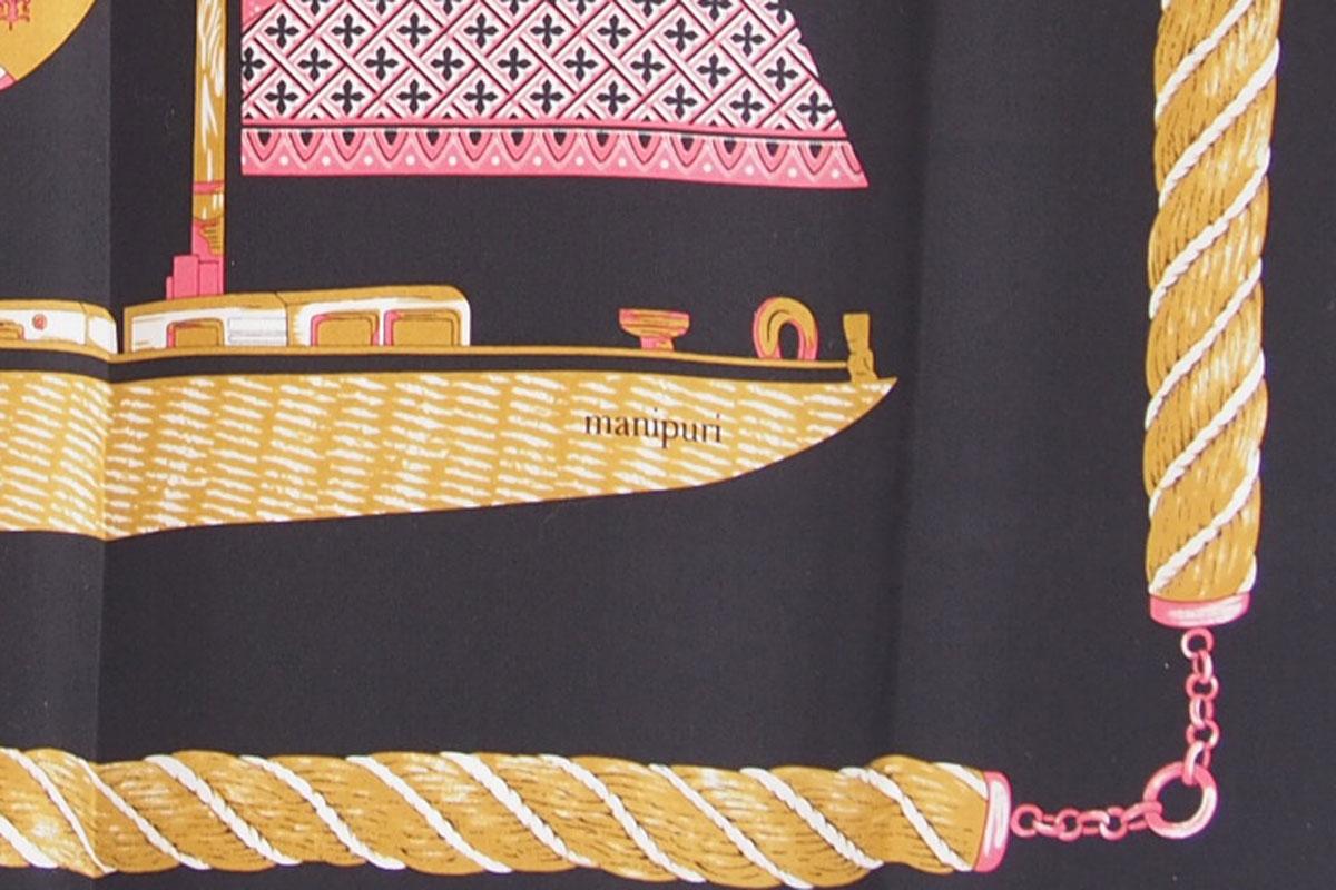 マニプリ|manipuri|プリントシルクスカーフ|ブラック×ピンクイメージ04