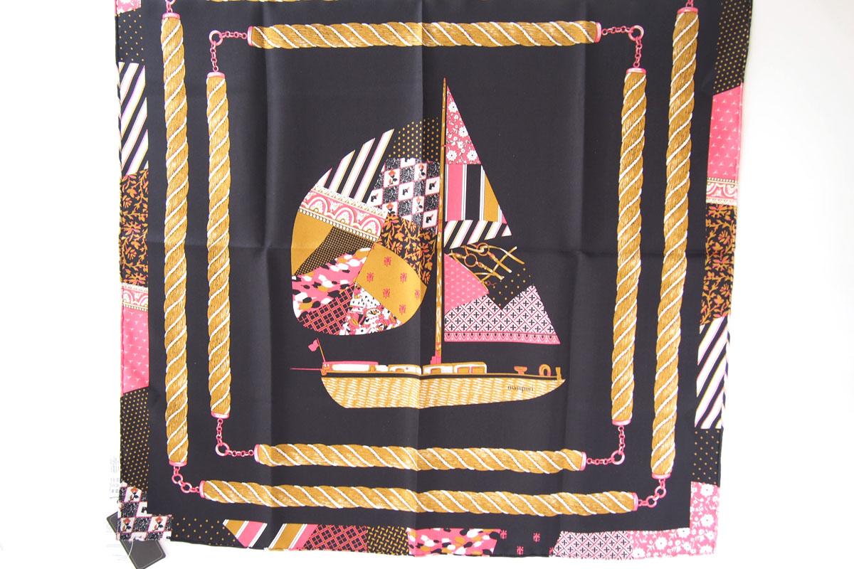 マニプリ|manipuri|プリントシルクスカーフ|ブラック×ピンクイメージ05